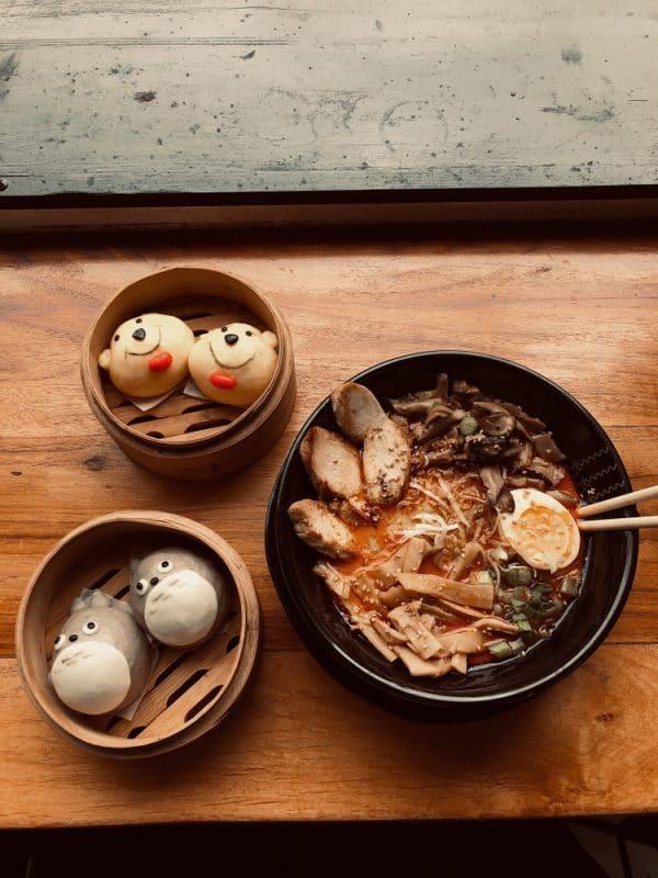 Harumama character buns and ramen