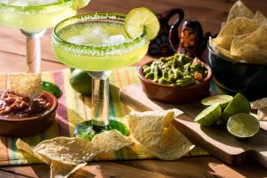 margaritas, chips, salsa, and guacamole