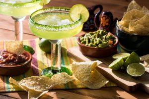 margaritas, chips, salsa, and guacamole